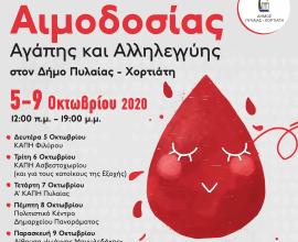 Εβδομάδα εθελοντικής αιμοδοσίας διοργανώνει ο Δήμος Πυλαίας – Χορτιάτη