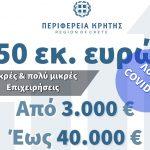 Περιφέρεια Κρήτης: 50 εκ. ευρώ για μικρές και πολύ μικρές επιχειρήσεις που επλήγησαν από την πανδημία