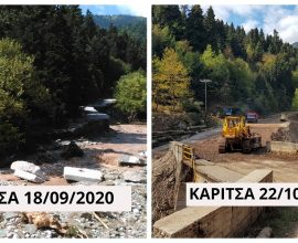 Παρεμβάσεις αποκατάστασης ζημιών από την Π.Ε. Καρδίτσας στον Καριτσιώτη ποταμό