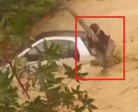 Κρήτη: Νεαρή οδηγός σκαρφαλώνει σε στύλο της ΔΕΗ για να σωθεί από χείμαρρο (ΒΙΝΤΕΟ)