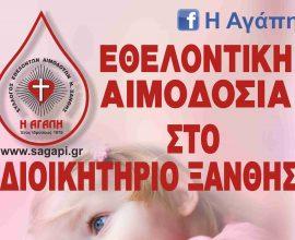 Εθελοντική αιμοδοσία από τον σύλλογο υπαλλήλων Π.Ε. Ξάνθης