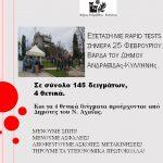 Δήμος Ανδραβίδας-Κυλλήνης: 4 θετικά κρούσματα σε σύνολο 145 rapid test