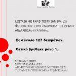 Εξέταση με rapid tests στην Ανδραβίδα του Δήμου Ανδραβίδας-Κυλλήνης
