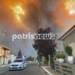 Ηλεία: «Πύρινη κόλαση» στο Λάλα – Οι φλόγες έχουν περικυκλώσει το χωριό